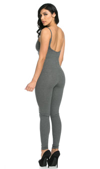 Pinch Front Camisole Unitard in Gray (S-XL)
