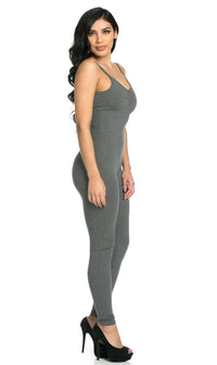 Pinch Front Camisole Unitard in Gray (S-XL) - SohoGirl.com