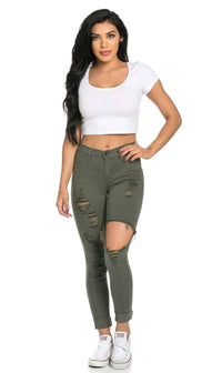 High Waisted Distressed Skinny Jeans in Olive (Plus Sizes Available)