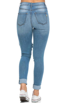 High Waisted Distressed Skinny Jeans ( Plus Size Available ) - Denim Blue - SohoGirl.com
