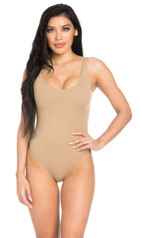 Basic Open Back Thong Bodysuit in Nude - SohoGirl.com
