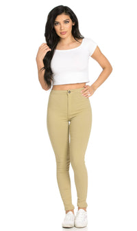 Super High Waisted Stretchy Skinny Jeans (S - 3XL) - Khaki - SohoGirl.com