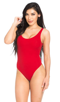 Basic Open Back Thong Bodysuit in Red (XS-XL)