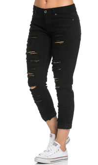 Distressed Low Rise Boyfriend Jeans in Black (Plus Sizes Available) - SohoGirl.com