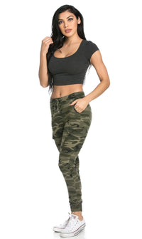 Drawstring Camouflage Cargo Jogger Pants (Plus Sizes Available)