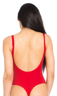 Basic Open Back Thong Bodysuit in Red (XS-XL) - SohoGirl.com