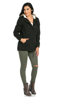 Fur Lined Hooded Parka Coat in Black (Plus Sizes Available)