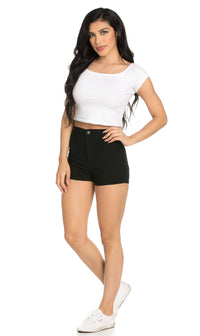 Solid High Waisted Shorts in Black