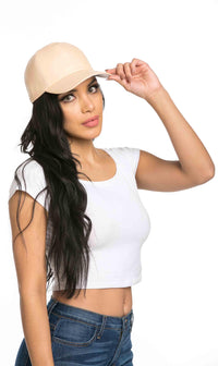 Solid Faux Leather Cap in Beige
