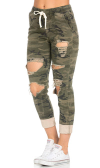 Destroyed and Cuffed Jogger Pants in Camouflage - SohoGirl.com