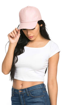 Solid Faux Leather Cap in Pastel Pink - SohoGirl.com