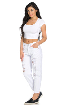 High Waisted Distressed Boyfriend Jeans in White