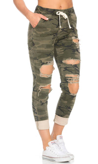 Destroyed and Cuffed Jogger Pants in Camouflage