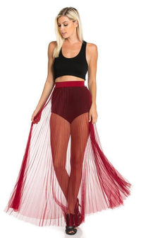 Pleated High Waisted Sheer Maxi Skirt in Burgundy (Plus Sizes Available)