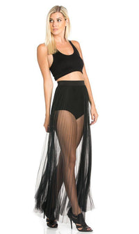 Pleated High Waisted Sheer Maxi Skirt in Black