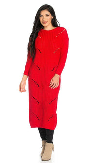 Maxi Distressed Sweater Dress in Red - SohoGirl.com