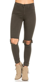 High Waisted Ripped Knee Skinny Jeans in Olive - SohoGirl.com