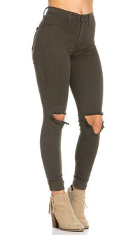 High Waisted Ripped Knee Skinny Jeans in Olive
