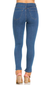 Destroyed Skinny Jeans in Blue