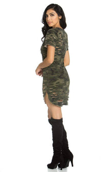 Distressed Camouflage Shirt Dress - SohoGirl.com