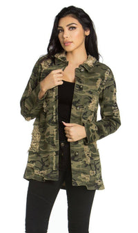 Long Sleeve Button Up Distressed Shirt in Camouflage (S-3XL)