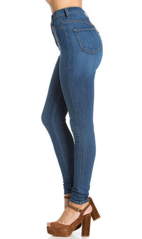 5-Button High Waisted Skinny Jeans in Blue - SohoGirl.com