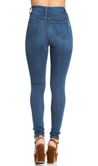 5-Button High Waisted Skinny Jeans in Blue