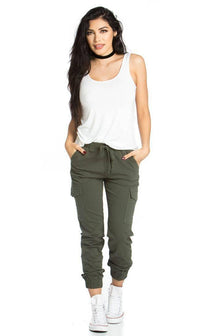 Drawstring Cargo Jogger Pants in Olive - SohoGirl.com