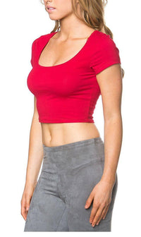 Basic Crop Top in Red - SohoGirl.com