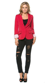 Single Button Solid Blazer in Red