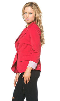 Single Button Solid Blazer in Red - SohoGirl.com