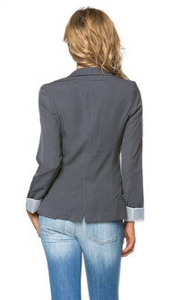 Single Button Solid Blazer in Gray - SohoGirl.com
