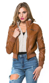 Plus Size Sweater Insert Leather Bomber Jacket in Tan - SohoGirl.com