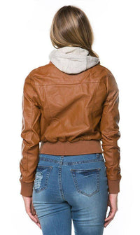 Plus Size Sweater Insert Leather Bomber Jacket in Tan