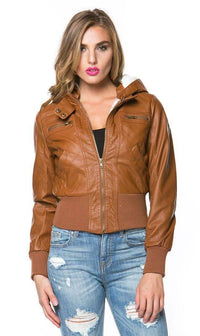 Faux Fur Lined Hooded Bomber Jacket in Tan (Plus Sizes Available)