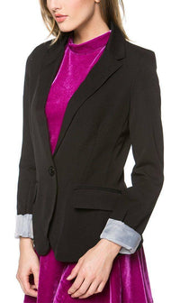 Single Button Solid Blazer in Black (Plus Sizes Available)