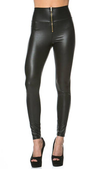 Zipped High Waisted Faux Leather Leggings in Black