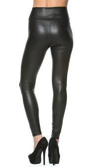 Zipped High Waisted Faux Leather Leggings in Black - SohoGirl.com