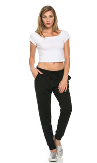 Classic Drawstring Jogger Pants in Black