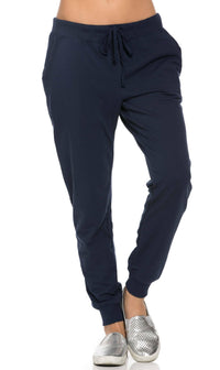 Classic Drawstring Jogger Pants in Navy Blue