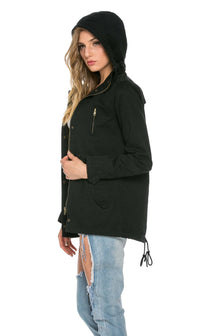 Hooded Parka Coat in Black (Plus Sizes Available)