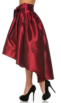 Burgundy Pleated High-Low Taffeta Midi-Skirt