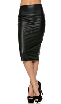 High Waisted Faux Leather Pencil Skirt in Black (Plus Sizes Available S-3XL) - SohoGirl.com