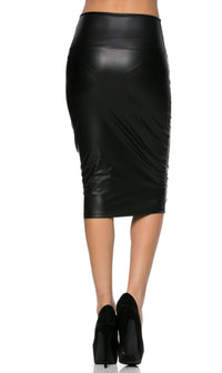 High Waisted Faux Leather Pencil Skirt in Black (Plus Sizes Available S-3XL)