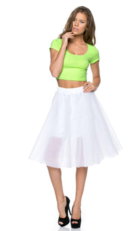 Structured Tulle Midi Skirt in White