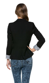 Single Button Pinstriped Blazer in Black (Plus Sizes Available)