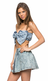 Perfect Bow Denim Crop Top - SohoGirl.com