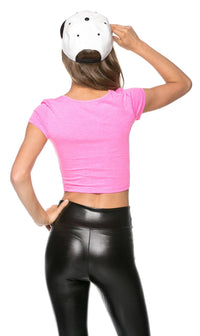 Basic Crop Top in Neon Pink