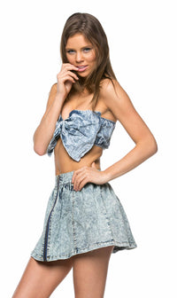 Perfect Bow Denim Crop Top