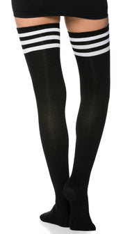 Collegiate Striped Thigh High Socks in Black - SohoGirl.com